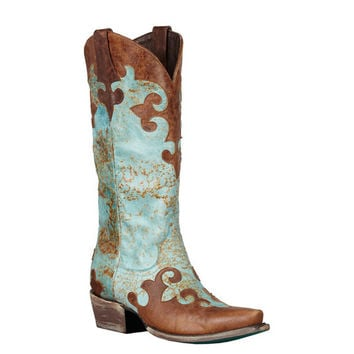 Lane Boots Dawson Cowgirl Boots Distressed Turquoise/Brown