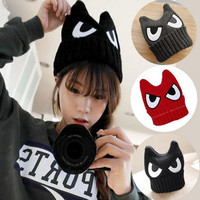 New Women Ears Big Eyes Devil Horn Hat Embroidered Hip Hop Fashion Winter Models Wool Cap = 1958025028