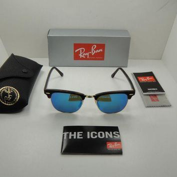 Gotopfashion RAY-BAN CLUBMASTER SUNGLASSES RB3016 114517 TORTOISE/BLUE FLASH LENS 51MM, NEW!