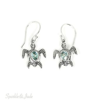 Sterling Silver Pear Blue Topaz Turtle Dangle Earrings