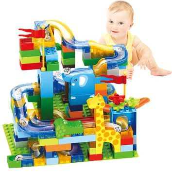 New Marble Race Run Maze Ball Jungle Track Building Blocks Fun Sliding ball Compatible LegoING Duplo Birthday Gift Toys For Kids