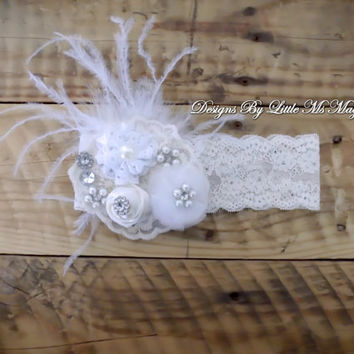 "Baptism Headband,Christening Headband, Lace Shabby Chic Headband, ""Ms.Monroe"", Headbands For Girls , Baby Shower Gift"