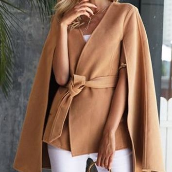Stepping Up Long Slit Sleeve Cross Wrap Tie Waist Cape Coat - 2 Colors Available