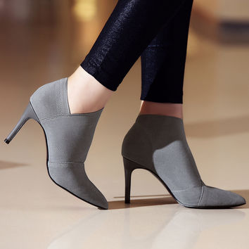 Leather+Microfiber Ankle Boots