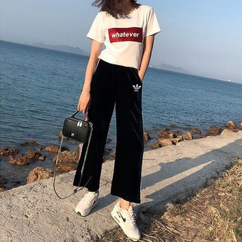 """Adidas"" Women Casual Fashion Letter Sequin Short Sleeve T-shirt Stripe Wide Leg Pants Trousers Set Two-Piece Sportswear"