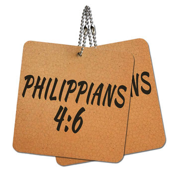 """Bible Verse Philippians 4-6 Wood MDF 4"""" x 4"""" Mini Signs Gift Tags"""