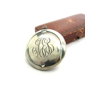 Engraved Sterling Silver Locket Pendant. Personalized Mirror Compact. AEP / APE Antique Script Monogram. Webster Co 1910s American Jewelry