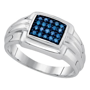 Sterling Silver Mens Round Blue Color Enhanced Diamond Wedding Band Ring 1/4 Cttw