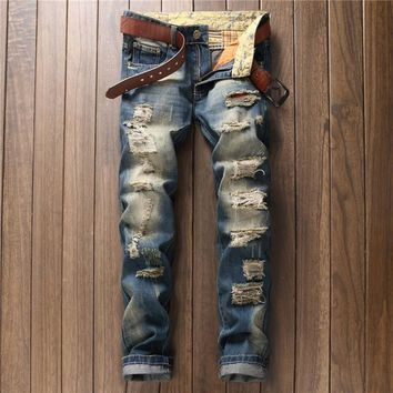 Ripped Holes Weathered Hot Sale Jeans [9892501763]