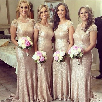 Plus Size Sequined Bridesmaid Dresses Scoop Neck Short Sleeves Beaded Custom Made Back Mermaid Vintage Bridesmaid Dress Wedding Gowns