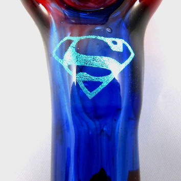 Hand Blown Glass Tobacco Superhero Superman Pipe Red Blue Clark Kent