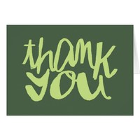 Thank You two-toned Army Green Typography Card