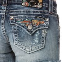 Miss Me Jean Shorts with Patchwork Pockets JP8231H