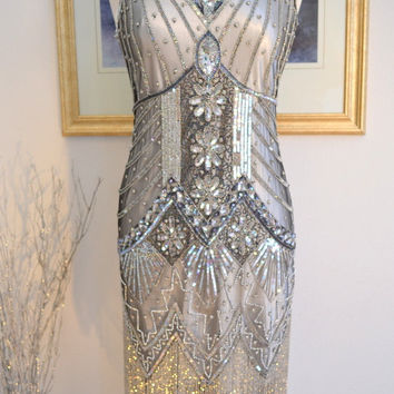 1920s Style Silver Beaded STARLIGHT Flapper Dress- S, m, l, xl, and Plus sizes