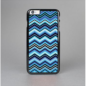 The Navy Blue Thin Lined Chevron Pattern V2 Skin-Sert for the Apple iPhone 6 Plus Skin-Sert Case