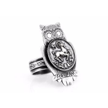 Coin ring with the Aries coin medallion on owl Aries ring ahuva zodiac jewelry