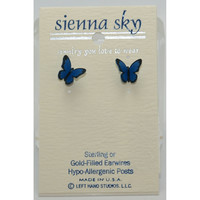 Sienna Sky Small Folded Blue Morpho Butterfly Earrings