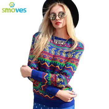 Smoves Women Tribal Aztec Digital Print Fitted Autumn Knitted Sweater Jumper Tops Winter Pullover Spring Knitwear Outfits New