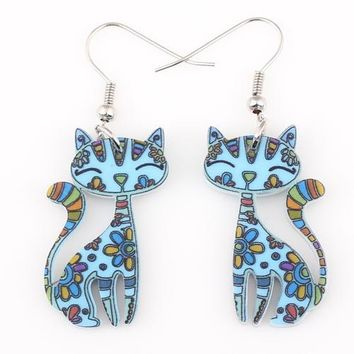Skinny Tail Dangle Drop Cat Earrings