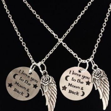 2 Necklaces Angel Wing I Love You To The Moon And Back Best Friends Couples