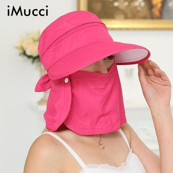 PEAP78W iMucci UV Protection Face Neck Flap Man Sun Cap Summer Style Foldable Cover the face Floppy Beach Hats Visors Cap