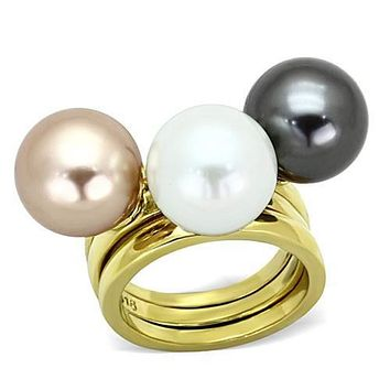 WildKlass Stainless Pearl Steel Ring IP Gold(Ion Plating) Women Synthetic Multi Color
