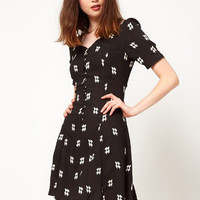 Black Printed V-neck Short Sleeve A-Line Chiffon Mini Dress