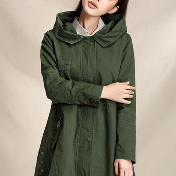 Hooded trench coat, casual jacket, fall jackets for women, corset coat, cotton coat  (ESR119)