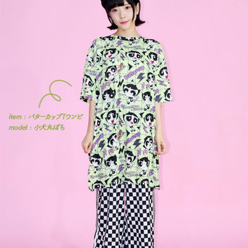 Buttercup Midori Green whole pattern ACDC RAG which a fashion dream of buttercup T ワンピパワーパフガールズグッズパワパフ T-shirt short-sleeved long length dress Lady's men Harajuku origin has a cute for 90s