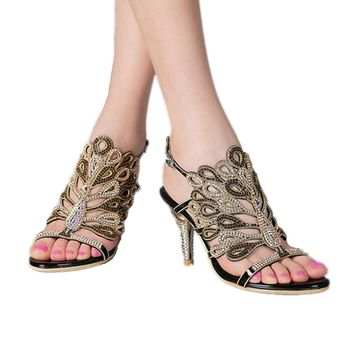 Genuine Leather Fashion and Sexy Rhinestone Wedding and Party Evening Dress Sandals big size 35-44, 2017 New Women Sandals Shoes