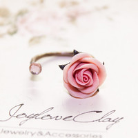 polymer clay pink rose Ring, flowers ring,tiny soft pink ring made, cocktail ring