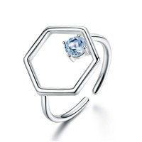 Natural Sky Blue Topaz Gemstone Real 925 Sterling Silver Rings