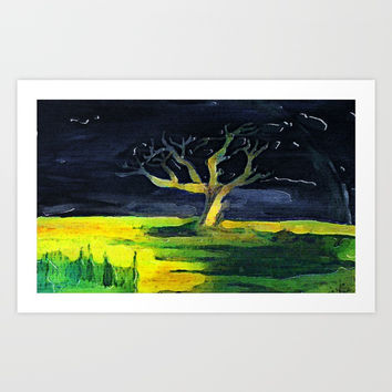 tree in a storm Art Print by AidaArt
