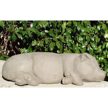 Designer Stone 8201-O Old Stone Large Sleeping Pig Cast Stone Statue - (In Old Stone)