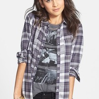 Rubbish® Plaid Cotton Shirt (Juniors) | Nordstrom