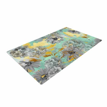 "Zara Martina Mansen ""Mint Gold Garden"" Green Gray Woven Area Rug"