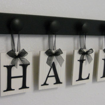 Personalized Family Name Signs a Unique Gift for Wedding with 4 Wooden Peg Display Rack in Black - HALL
