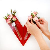$54.00 HEART wall mount flower vase by PIGandFiSH