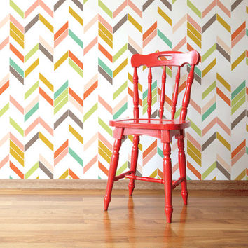Self adhesive vinyl temporary removable wallpaper, wall decal - Rainbow Herringbone print - 045