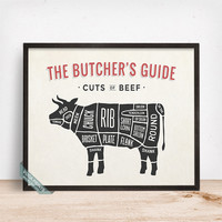 Butchers Guide Beef Print, Cuts Of Beef, Beef Poster, Kitchen Decor, Beef Cuts, Butcher Print, Beef Print, Wall Decor, Fathers Day Gift
