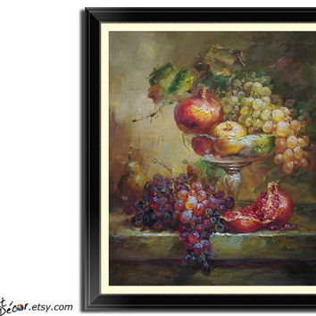 "24"" Fruits Still Life Oil Painting, Classic Original Art, Kitchen Wall Art Decor, Paint and Sign by Jim."