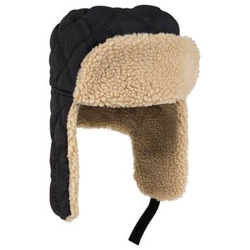 OTTO Quilted Polyester Shell w/Shearling Lining Three Panel Trapper Hat