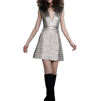 Alice Olivia Clara V-Neck A-line Dress in Silver