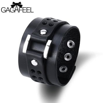 GAGAFEEL Punk Men Leather Bracelet Vintage Wide Cuff Bangles  Buckle Wristband Male Jewelry Black & Brown Color Rope Chain New