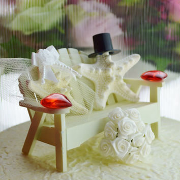 Valentine's Day Wedding Cake Topper ~ Off White ~ Miniature Adirondack Bench  ~ Starfish Bride and Groom ~ Beach Wedding Decor ~ Red  Hearts