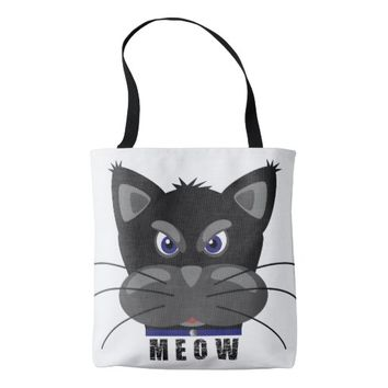 Grouchy Black Cat Meow Tote Bag
