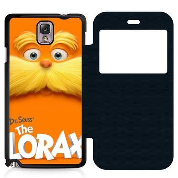 Dr Seuss Lorax Face Leather Wallet Flip Case Samsung Galaxy Note 3