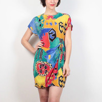 Vintage 80s Dress Rainbow Abstract Print Mini Dress 1980s Dress Wrap Style Southwestern Color Block New Wave Western Gauze Dress S M Medium