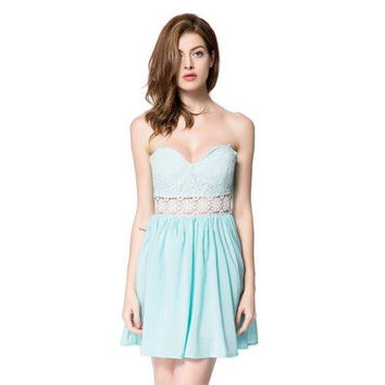 Sexy Strapless Backless Lace Splicing Hollow Out Dress For Women