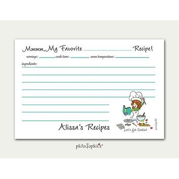 Personalized Let's Get Cookin' Recipe Cards
